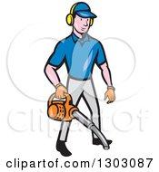 Cartoon White Male Gardener Using A Leaf Blower