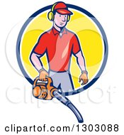 Clipart Of A Cartoon White Male Gardner Using A Leaf Blower And Emerging From A Blue White And Yellow Circle Royalty Free Vector Illustration by patrimonio