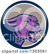 Clipart Of A Growling Purple Black Panther Cat In A Blue White And Taupe Circle Royalty Free Vector Illustration by patrimonio
