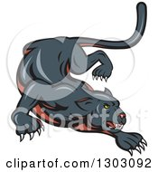 Clipart Of A Stalking And Crouching Black Panther Cat Royalty Free Vector Illustration