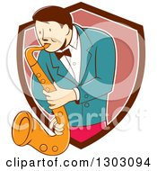 Clipart Of A Retro Cartoon Male Musician Playing A Saxophone And Emerging From A Brown White And Pink Shield Royalty Free Vector Illustration by patrimonio