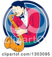Clipart Of A Retro Cartoon Male Musician Playing A Saxophone And Emerging From A Blue And White Circle Royalty Free Vector Illustration