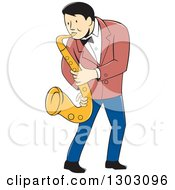 Clipart Of A Retro Cartoon Male Musician Playing A Saxophone Royalty Free Vector Illustration by patrimonio