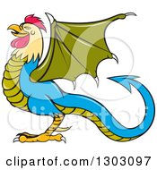 Clipart Of A Cartoon Basilisk Fantasy Creature In Profile Facing Left Royalty Free Vector Illustration