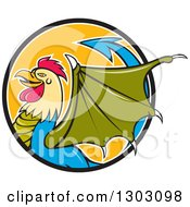 Clipart Of A Cartoon Basilisk Fantasy Creature In Profile Emerging From A Black White And Orange Circle Royalty Free Vector Illustration by patrimonio