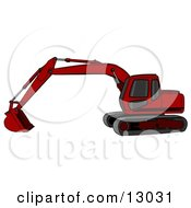 Red Trackhoe Excavator Clipart Illustration