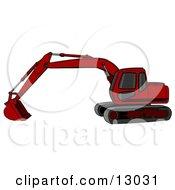 Red Trackhoe Excavator