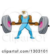 Clipart Of A Cartoon Muscular Bald Eagle Bodybuilder Man Lifting A Heavy Barbell Royalty Free Vector Illustration