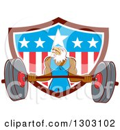 Clipart Of A Cartoon Muscular Bald Eagle Bodybuilder Man Lifting And Emerging From An American Shield Royalty Free Vector Illustration
