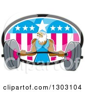 Clipart Of A Cartoon Muscular Bald Eagle Bodybuilder Man Lifting A Heavy Barbell And Emerging From An American Oval Royalty Free Vector Illustration