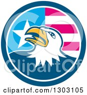 Clipart Of A Cartoon Tough Bald Eagle In A Blue White And American Flag Circle Royalty Free Vector Illustration