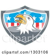 Clipart Of A Retro Cartoon Tough Bald Eagle In A Gray White And American Flag Shield Royalty Free Vector Illustration by patrimonio