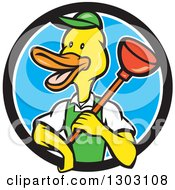 Clipart Of A Cartoon Duck Plumber Worker Man Holding A Plunger In A Black White And Blue Circle Royalty Free Vector Illustration by patrimonio