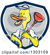 Clipart Of A Cartoon Duck Plumber Worker Man Holding A Plunger In A Blue White And Gray Shield Royalty Free Vector Illustration by patrimonio