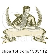 Clipart Of A Sketched Or Engraved Farmer Holding A Harvest Basket With Branches Over A Banner Royalty Free Vector Illustration