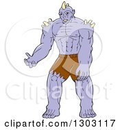 Clipart Of A Cartoon Purple Orc Warrior Royalty Free Vector Illustration by patrimonio