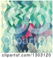 Clipart Of A Low Poly Abstract Geometric Background Of Myrtle Green Royalty Free Vector Illustration