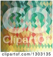 Clipart Of A Low Poly Abstract Geometric Background Of Emerald Green Harlequins Royalty Free Vector Illustration