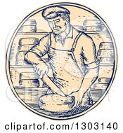 Clipart Of A Sketched Or Engraved Cheesemaker Cutting Cheddar In A Circle Royalty Free Vector Illustration by patrimonio