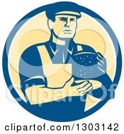 Clipart Of A Retro Male Cheesemaker Holding A Parmesan Round In A Blue White And Yellow Circle Royalty Free Vector Illustration