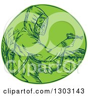 Clipart Of A Sketched Or Engraved Herbicide Sprayer In A Green Circle Royalty Free Vector Illustration by patrimonio
