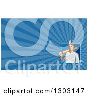 Clipart Of A Retro White Male Chef Or Baker With A Rolling Pin Over His Shoulder And Blue Rays Background Or Business Card Design Royalty Free Illustration