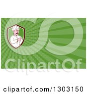 Clipart Of A Retro Cartoon White Male Head Chef With A Mustache Pointing And Green Rays Background Or Business Card Design Royalty Free Illustration