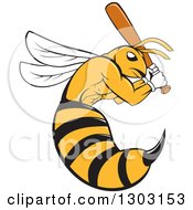 Clipart Of A Cartoon Killer Bee Baseball Player Mascot Batting Royalty Free Vector Illustration
