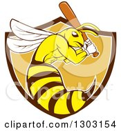 Clipart Of A Retro Cartoon Killer Bee Baseball Player Mascot Batting In A Bown White And Orange Shield Royalty Free Vector Illustration