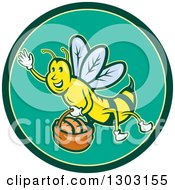 Clipart Of A Cartoon Friendly Bee Flying With A Bread Basket In A Green And Yellow Circle Royalty Free Vector Illustration