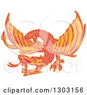 Clipart Of A Sketched Or Engraved Flying Dragon Royalty Free Vector Illustration