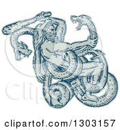 Clipart Of A Sketched Or Engraved Hercules Wearing A Lion Skin And Fighting A Three Headed Serpent Royalty Free Vector Illustration