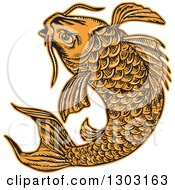 Clipart Of A Sketched Or Engraved Jumping Koi Fish Royalty Free Vector Illustration