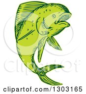 Clipart Of A Sketched Or Engraved Jumping Dolphin Fish Royalty Free Vector Illustration by patrimonio