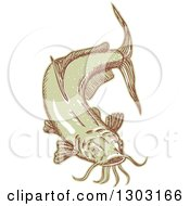 Clipart Of A Sketched Or Engraved Catfish Royalty Free Vector Illustration by patrimonio