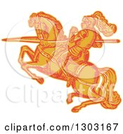 Clipart Of A Sketched Or Engraved Horseback Knight With A Lance Royalty Free Vector Illustration