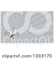 Clipart Of A Retro Cartoon Horseback Knight Wielding A Sword And Gray Rays Background Or Business Card Design Royalty Free Illustration