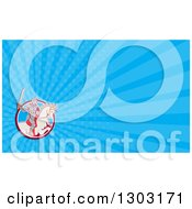 Clipart Of A Retro Cartoon Horseback Knight Wielding A Sword And Blue Rays Background Or Business Card Design Royalty Free Illustration