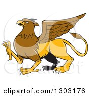 Clipart Of A Mythical Griffin Creature Walking Royalty Free Vector Illustration by patrimonio