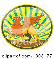 Clipart Of A Retro Cartoon Mythical Griffin Creature Walking In An Oval Of Rays Royalty Free Vector Illustration by patrimonio