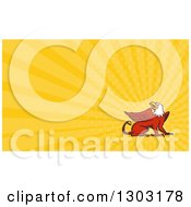 Clipart Of A Retro Griffin And Yellow Rays Background Or Business Card Design Royalty Free Illustration by patrimonio