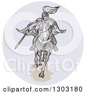 Clipart Of A Sketched Or Engraved Samurai Warrior On Horseback In A Circle Royalty Free Vector Illustration by patrimonio