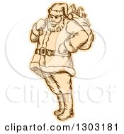 Clipart Of A Sketched Or Engraved Santa Standing With A Christmas Sack Over His Shoulder Royalty Free Vector Illustration