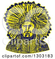 Clipart Of A Sketched Or Engraved Native American Indian Chief Royalty Free Vector Illustration