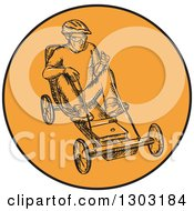 Clipart Of A Sketched Or Engraved Man Racing A Soapbax Royalty Free Vector Illustration