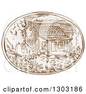 Clipart Of A Sketched Or Engraved Log Cabin With Smoke Rising Rom The Chimney In An Oval Royalty Free Vector Illustration