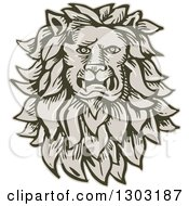 Clipart Of A Sketched Or Engraved Male Lion Head With A Long Mane Royalty Free Vector Illustration