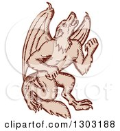 Clipart Of A Sketched Or Engraved Kludde Bat Winged Wild Dog Monster Royalty Free Vector Illustration