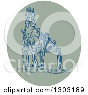 Clipart Of A Sketched Or Engraved Harness Racing Scene In An Oval Royalty Free Vector Illustration