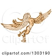Clipart Of A Flying Mythical Harpy Royalty Free Vector Illustration